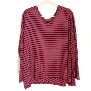 WE THE FREE Raspberry Striped Tunic Top Size Large